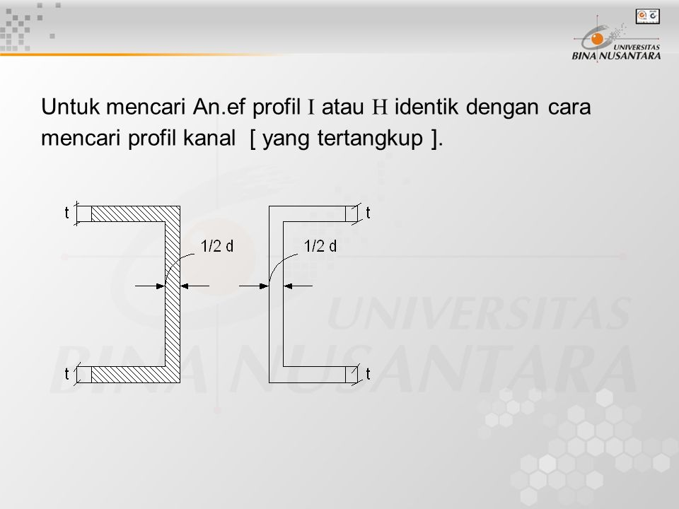 Untuk mencari An.ef profil  atau  identik dengan cara mencari profil kanal [ yang tertangkup ].